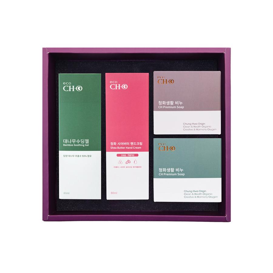 청화팜 청화에코 6세트 - 청화 대나무 수딩젤(80ml)+시어버터 핸드크림(80ml)+아로마 비누(100g) 2구