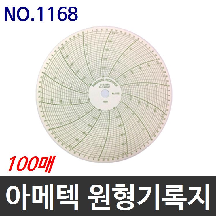아메텍 가스압력원형기록지 NO.1168 100매 P2005호환