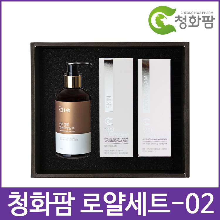 HelloFTA JASON,청화팜 로얄 세트 02 - 한방샴푸,어성초스킨,제생초크림