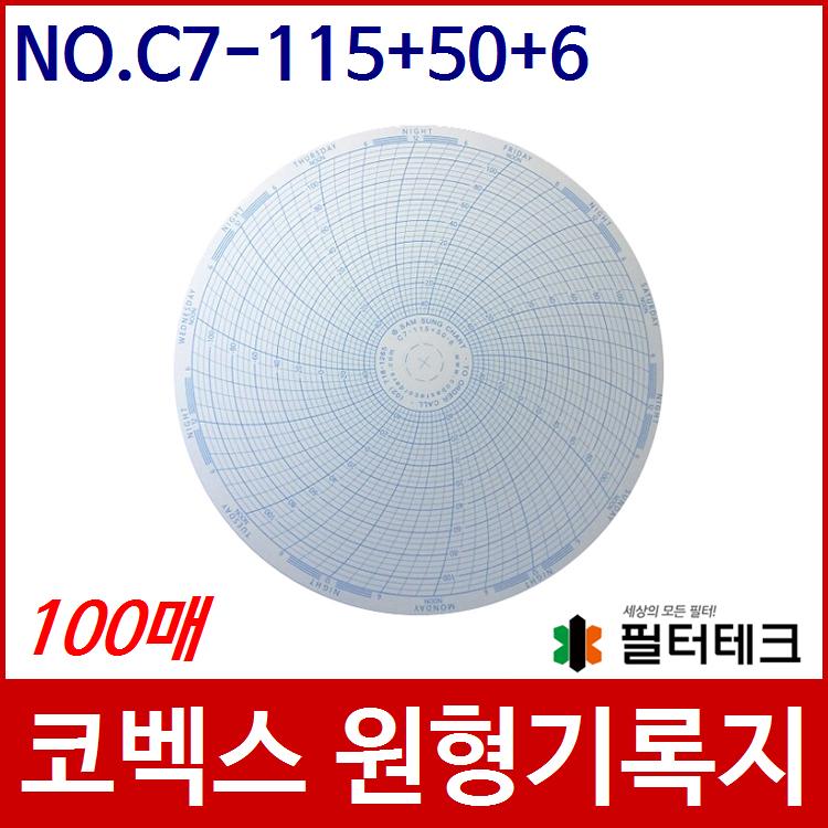 코벡스 가스압력원형기록지 NO.C7-115+50-6 100매