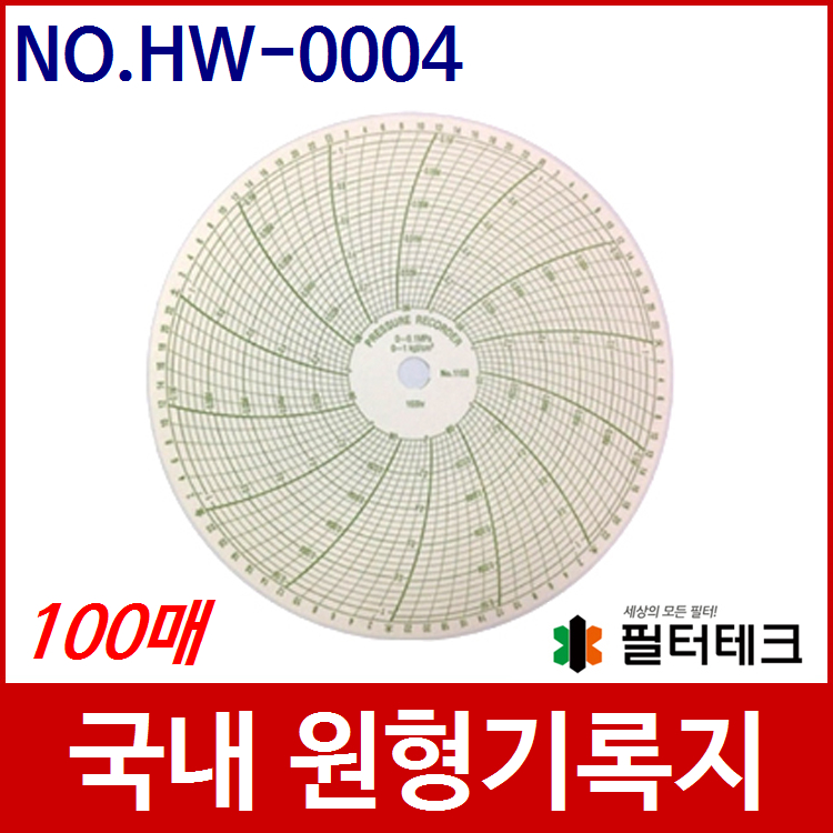 산업용 가스압력원형기록지 NO.HW-0004 (200¢) 100매 (P2005, 1168 호환)