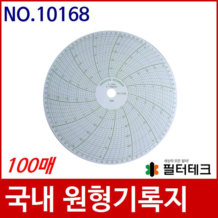 산업용 가스압력원형기록지 NO.10168 (200¢) 100매 HW-0002호환