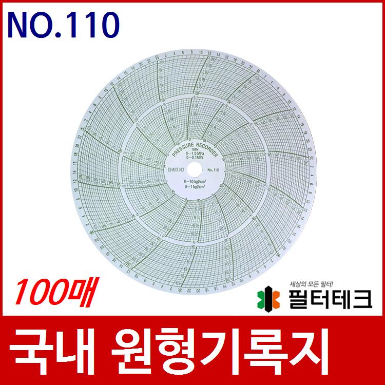 산업용 가스압력원형기록지 NO.110 (200¢) 100매