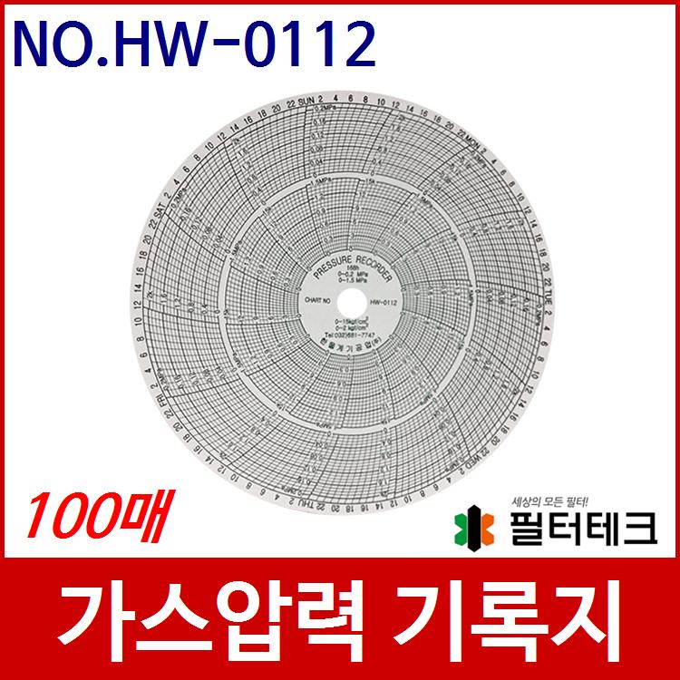 산업용  가스압력원형기록지 NO.HW-0112 (200¢) 100매 (152, P30033 호환)