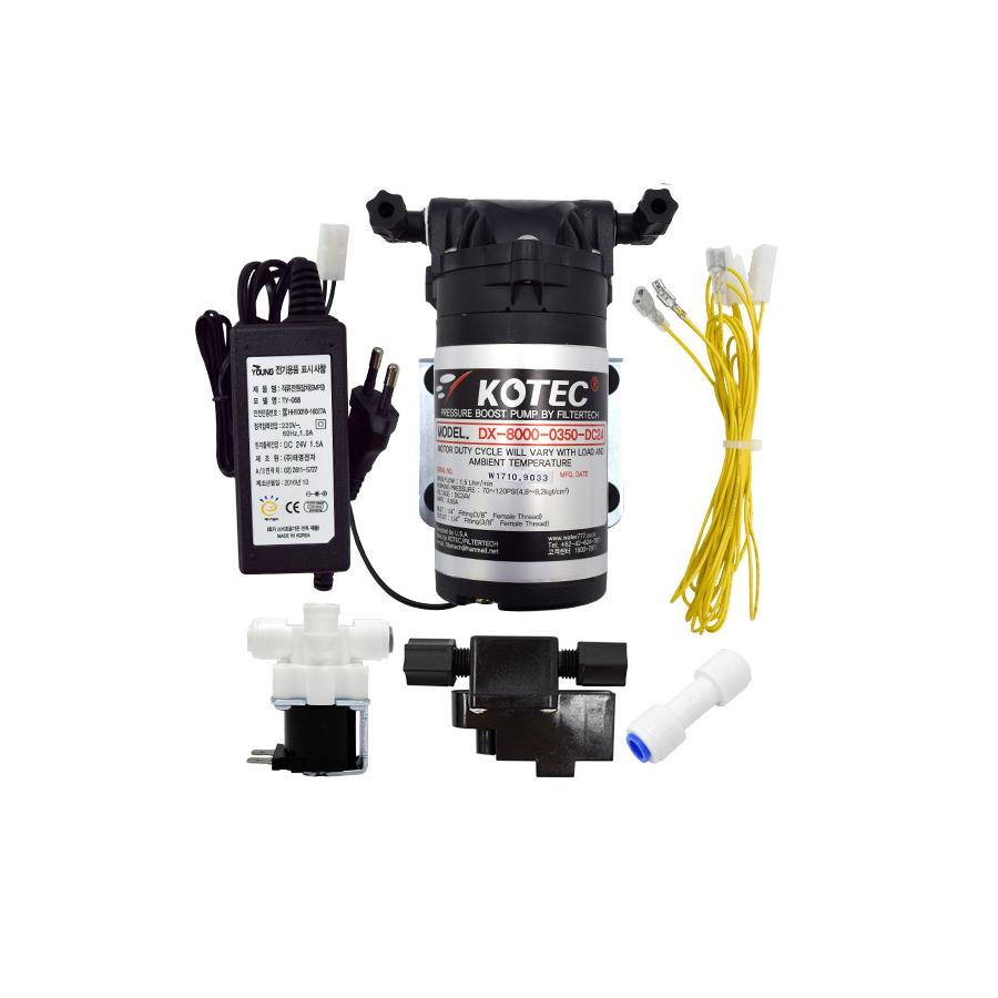 필터테크-세상의 모든 필터 저압용 역삼투압 정수기 부스터펌프 DIY세트 - 수압낮은지역/지하수전용 부스터펌프 DX-8000-0350 + 어댑터 DC24 1A + 솔레노이드밸브 HSV-FF-24V + 고압스위치 HPS-140 + 3단배선