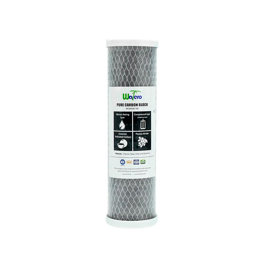 WATERO 산업용필터 HCS6530-10C 언더씽크 카본블럭필터 250mm (10인치) 5마이크론 은파우더첨가 항균작용